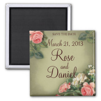 Save the Date Vintage Rosen Quadratischer Magnet