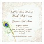 Save the Date - Vintager Pfau u. Radierungen Personalisierte Einladungskarte