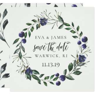 Save the Date Watercolor-Blumensommer-Fall-Blau Karte