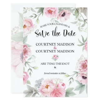 Save the Date Watercolor-rosa Rosen-Blumen 12,7 X 17,8 Cm Einladungskarte