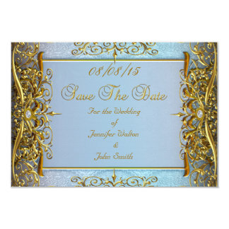 SAVE THE DATE Wedding blaues Gold Karte