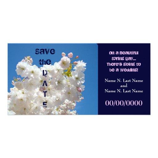 Save the Date Wedding Datums-Frühlings-Blüten Bilder Karten