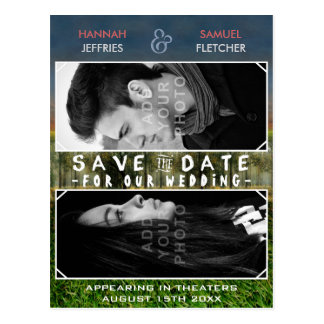 Save the Date Wedding Foto-Film-Plakat-Thema Postkarte
