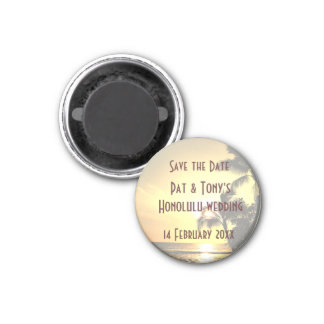 Save the Date Wedding in Hawaii Runder Magnet 2,5 Cm