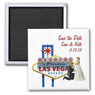 Save the Date Wedding in Las- Vegasmagneten Quadratischer Magnet