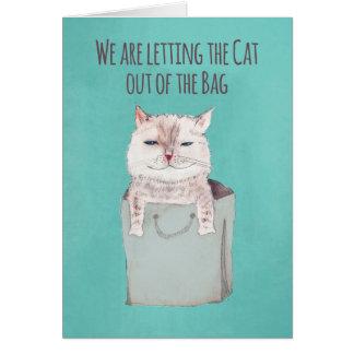 Save the Date Wedding, Katze aus der Tasche heraus Grußkarte