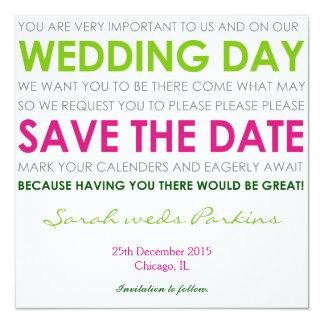 Save the Date wedding laden Sie grünes Gedicht der Quadratische 13,3 Cm Einladungskarte