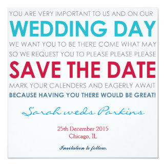 Save the Date wedding laden Sie Kartenblaugedicht Quadratische 13,3 Cm Einladungskarte