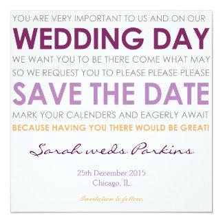 Save the Date wedding laden Sie lila Gedicht der Quadratische 13,3 Cm Einladungskarte