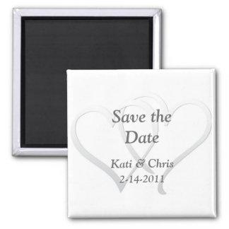 Save the Date Wedding Magneten zwei Herzen Quadratischer Magnet