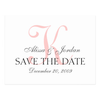 Save the Date Wedding Monogramm-Mitteilungs-Karte Postkarte