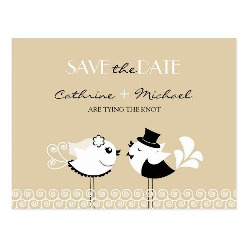 Save the Date Wedding Vogel-Postkarte
