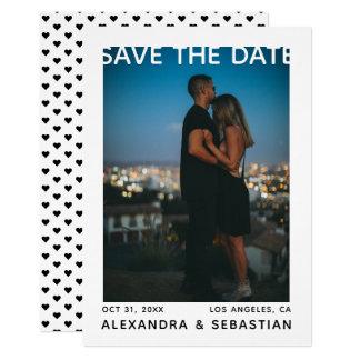 Save the Date weiße schwarze Herz-Hochzeit Karte