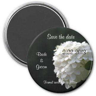 Save the Date weißer Hydrangea, der ringsum Kühlschrankmagnet