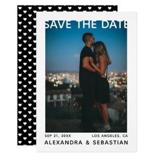 Save the Date weißes schwarzes Herz-Hochzeits-Foto Karte