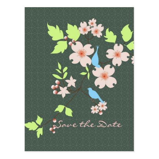 Save the Date zwei blaue Vögel auf Hartriegelniede Postkarten