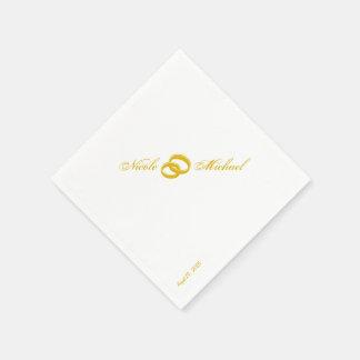 Save the Date - zwei Goldringe verflochten Servietten