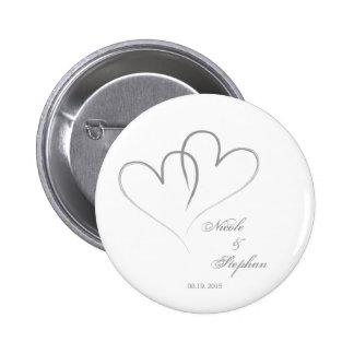 Save the Date - zwei Herzen verflochten Runder Button 5,1 Cm