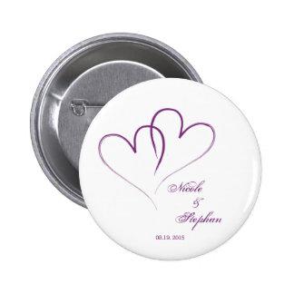 Save the Date - zwei Herzen verflochten Runder Button 5,7 Cm