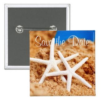 Save the Date zwei Starfish Quadratischer Button 5,1 Cm
