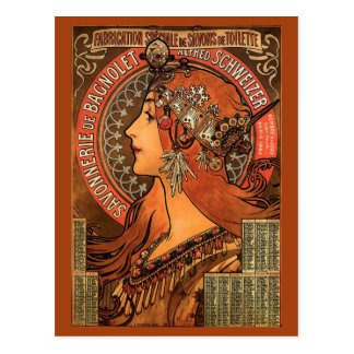 Savonnerie De Bagnolet durch Mucha Postkarte
