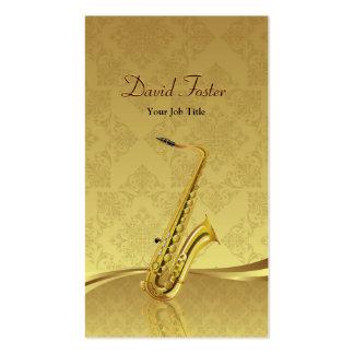 Saxophon-Messinginstrument-eleganter Golddamast Visitenkarten