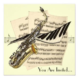Saxophon-Musik-Entwurfs-Einladung Karte