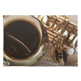 Saxophon-Musik-Goldglanz Notenblatt Schlüssel Tischset