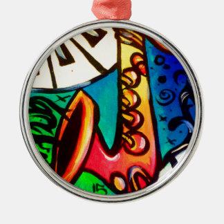 Saxophon-Musik-Kunst Silbernes Ornament