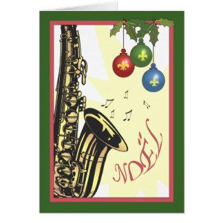 Saxophon-New- Orleansjazz-Weihnachten Karte