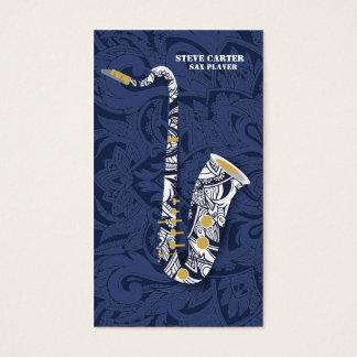 Saxophon-Saxophon-Spieler-Musik-Künstler-Lehrer Visitenkarte