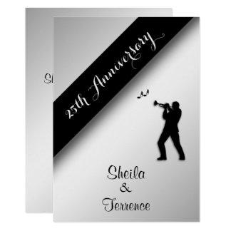 Saxophon-silberne Hochzeitstag-Einladung Karte