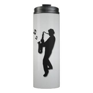Saxophon-Spieler-Silber Thermosbecher