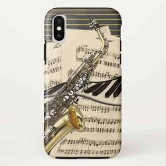 Saxophon-u. Klavier-Musik-Illustration iPhone X Hülle