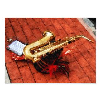 Saxophon vor der Parade Karte