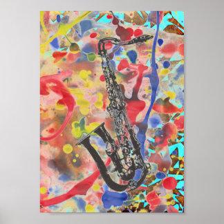 Saxophone abstrakt poster