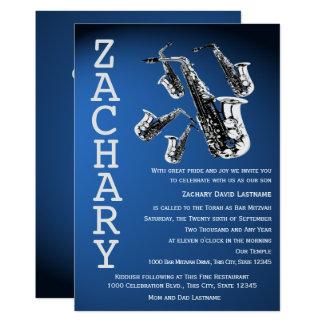 Saxophone-Manie-Musik-blaues Bar Mitzvah Karte