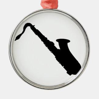 Saxophone-Silhouette Silbernes Ornament