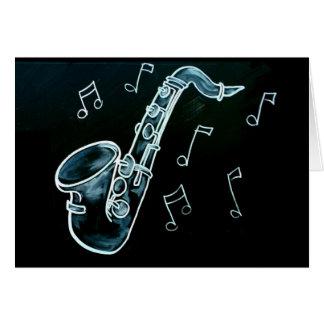 Saxophone und Musiknoten Karte