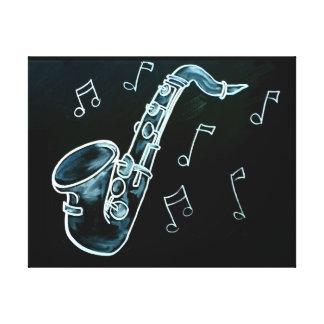 Saxophone und Musiknoten Leinwanddruck