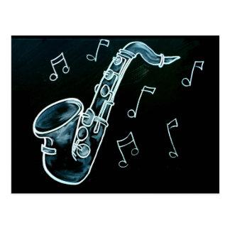 Saxophone und Musiknoten Postkarte