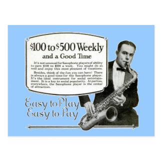 Saxophone-Vintage Anzeige Postkarte