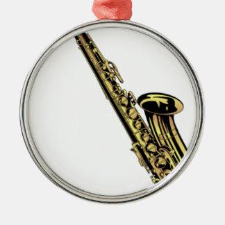 Saxophone-Zeichnen Silbernes Ornament