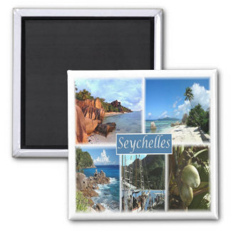 Sc * Seychellen - Collage Quadratischer Magnet