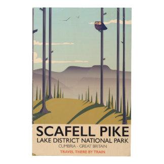 Scafell Pike, Cumbria, Vintages Reiseplakat Holzdruck