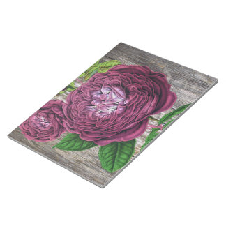 Scarlet-Rose auf Holz Notizblock