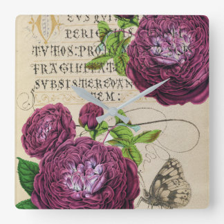 Scarlet-Rose Vintag Quadratische Wanduhr