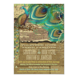 Schäbiger Land-Pfau-Vintages 3 Feder-altes Holz Karte