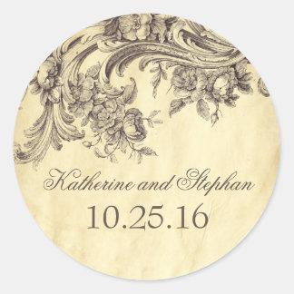 Schäbiger Vintager Schnörkel-elegante Hochzeit Runder Aufkleber