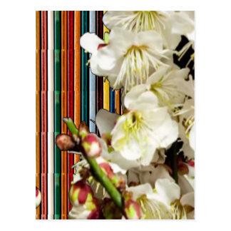 Schablonen-Blumen, die Weiß Text-Bild addiert, Postkarte